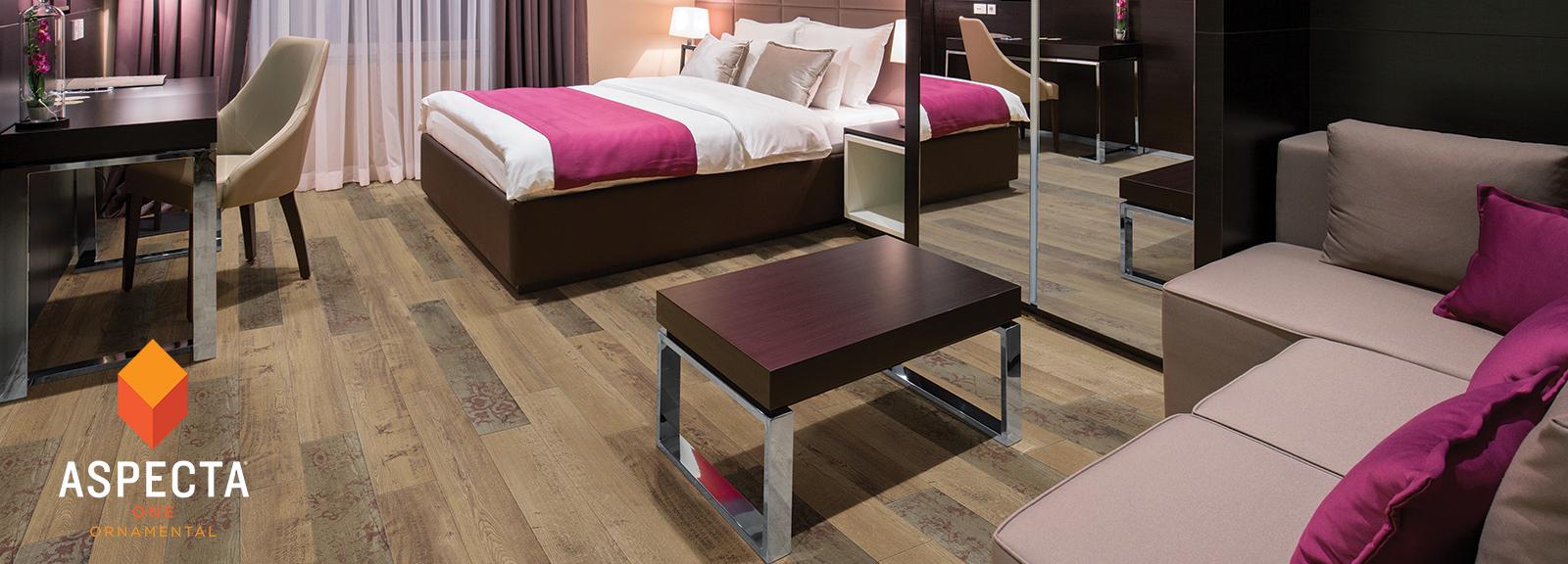 Hotel room with Monarch Plum Malta Shipwright floors